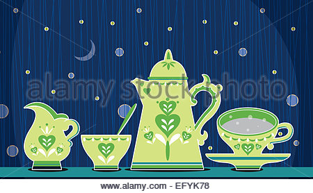 Retro coffee set Illustration on blue night time background - Stock Photo