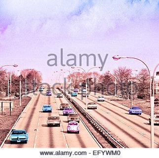 American vintage cars freeway retro grainy image - Stock Photo