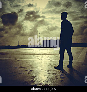 USA, California, Los Angeles, Silhouette of man - Stock Photo