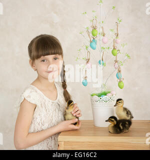 Portrait of a beautiful girl Easter decor - Stock Photo