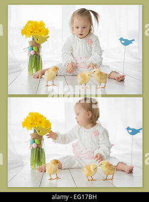 collage of photos of the girl with Down syndrome and chickens - Stock Photo