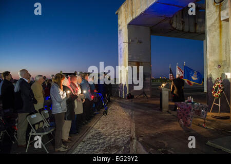 Members of an audience honor three former space pioneers at the 48th annual Apollo 1 Memorial Ceremony Jan. 27, - Stockfoto