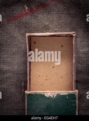 Top view of open and empty old fashioned paper box. - Stock Photo