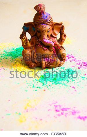 Ganesha playing holi. - Stock Photo