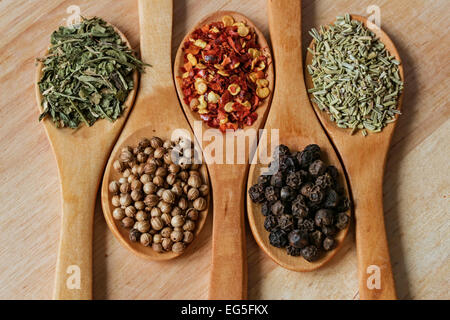 Chili, pepper and other spices in wooden spoons - wooden background - Stock Photo