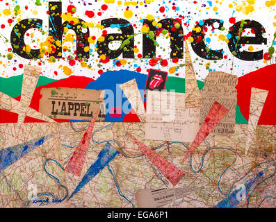 "Modern abstract collage / painting ""Chance"" by Ed Buziak - France. - Stock Photo"