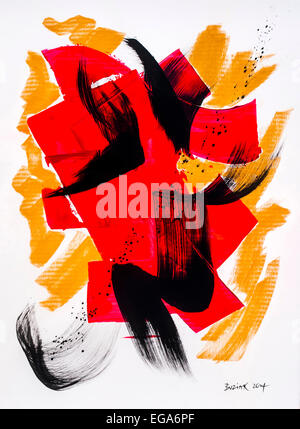 Modern abstract acrylic painting by Ed Buziak - France. - Stock Photo