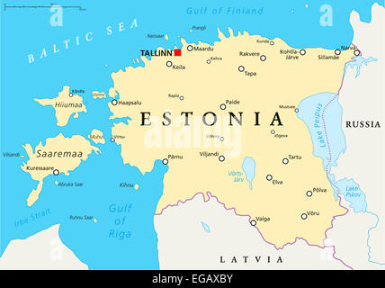 Estonia Political Map with capital Tallinn, national borders, important cities, rivers and lakes. English labeling - Stock Photo