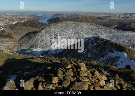 On Catstyecam summit, winter afternoon - Stock Photo