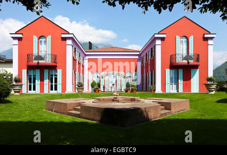 Exterior new villa in classic style, view from the garden - Stock Photo