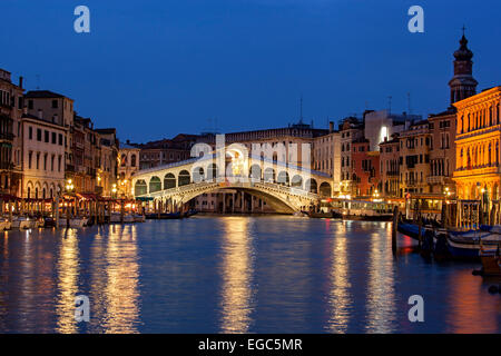 Rialto Bridge, Grand Canal, Venice, Italy - Stock Photo
