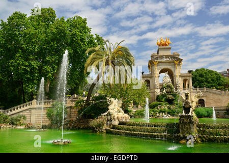 Fountain in Parc de la Ciutadella, city park, La Ribera, Barcelona, Catalonia, Spain - Stock Photo