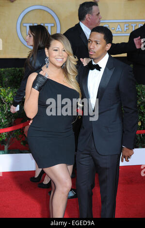 LOS ANGELES, CA - JANUARY 18, 2014: Mariah Carey & Nick Cannon at the 20th Annual Screen Actors Guild Awards at - Stock Photo