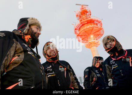 Murmansk, Russia. 23rd Feb, 2015. Participants seen at the start of the 2015 Expedition Trophy race near Belokamenny - Stock Photo
