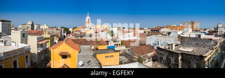 A view over the rooftops of Cartagena's old city as seen from the rooftop of a nearby hotel. - Stock Photo