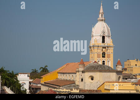 A view of the Cartagena Cathedral from the rooftop of a nearby hotel. - Stock Photo