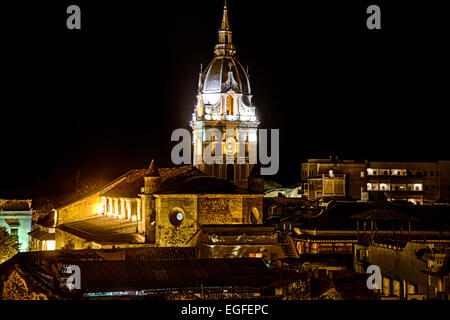 A night view of the Cartagena Cathedral from the rooftop of a nearby hotel. - Stock Photo