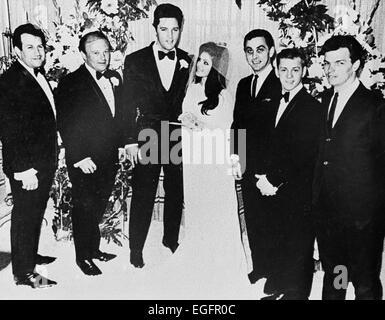LAS VEGAS, NV - NOVEMBER 10 – Elvis and Priscilla Presley Wedding at the Aladdin Hotel, Las Vegas, Nevada, on November - Stock Photo