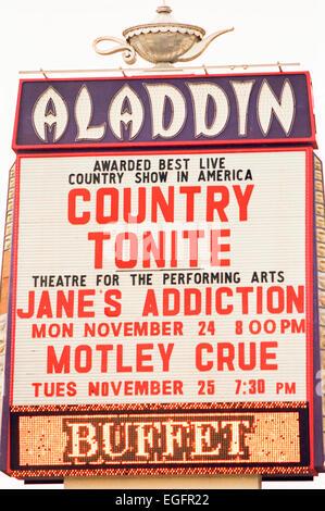 LAS VEGAS, NV - NOVEMBER 10 - The Aladdin's Hotel's marquee in Las Vegas, Nevada, on November 10, 1997. - Stock Photo