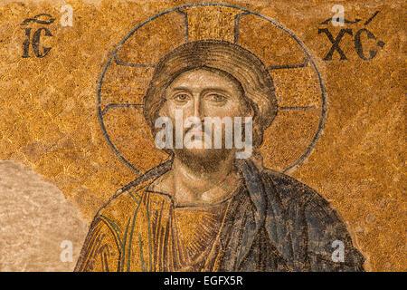 Jesus Christ in the Deesis mosaic of Hagia Sophia, Istanbul, Turkey. - Stock Photo