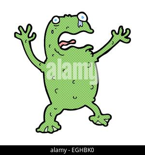 retro comic book style cartoon frightened frog - Stock Photo