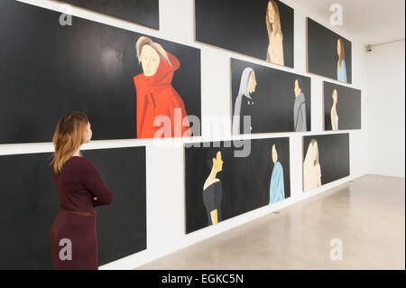 Timothy Taylor Gallery, Mayfair, London, UK. 26th February, 2015. Black Paintings, an exhibition of new, large-scale - Stock Photo
