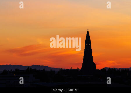 Hallgrimskirkja church in Reykjavik, Iceland, during sunset in July. - Stock Photo