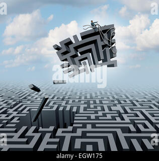 New thinking and empowerment concept as a businessman riding a chunk of a maze or labyrinth as a business or life - Stock Photo