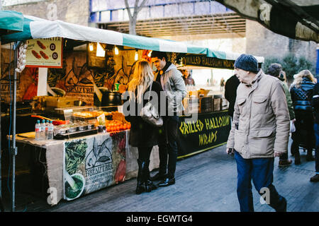 The Real Food street food market at the Southbank Centre in London. - Stock Photo