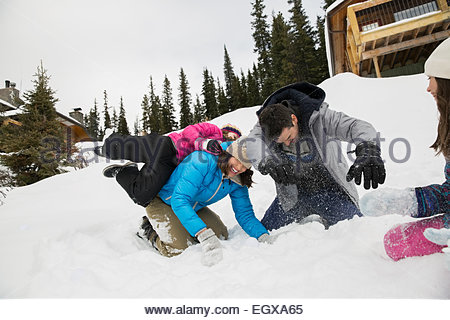 Playful family enjoying snowball fight in snowy field - Stockfoto