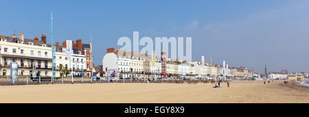 Weymouth beach Dorset UK in summer popular tourist destination on the south coast panorama - Stock Photo