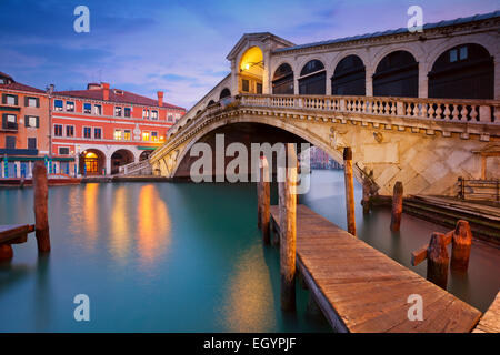 Venice. Image of Rialto Bridge in Venice at dawn. - Stock Photo