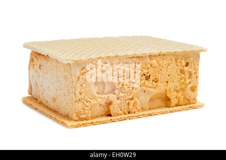 typical spanish helado al corte or corte de helado, ice cream sandwich with wafers, on a white background - Stock Photo