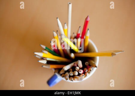 Directly above shot of pencils in desk organizer on table - Stock Photo