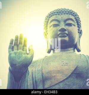 Giant Buddha in Hong Kong. Retro style filtred image - Stock Photo