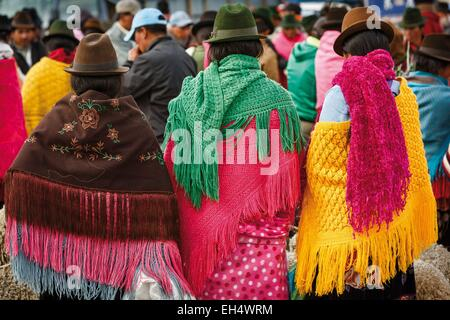 Ecuador, Cotopaxi, Zumbahua, day of the village of Zumbahua market, details of colorful outfits worn by women on - Stock Photo