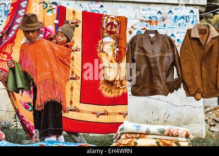 Ecuador, Cotopaxi, Zumbahua, day of the village of Zumbahua market, portrait of an Ecuadorian peasant woman carrying - Stock Photo