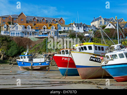 Fishing boats in harbour, Newquay, Cornwall, England UK - Stock Photo