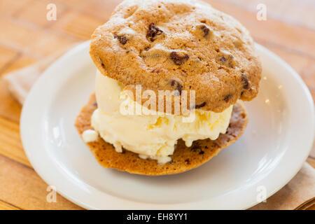 ice cream-and-cookie sandwich, Industrial Eats, Buellton, California - Stock Photo