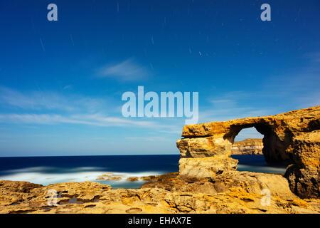 Mediterranean Europe, Malta, Gozo Island, Dwerja Bay, The Azure Window natural arch - Stock Photo