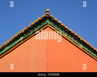 Forbidden City Palace converging red walls - Stock Photo
