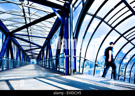 Blue modern corridor - Stock Photo