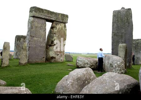 US President Barack Obama during a visit to the prehistoric site of Stonehenge following the NATO Summit September - Stock Photo