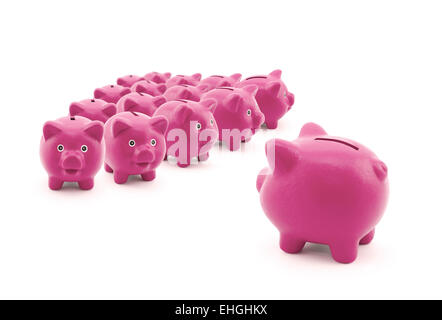 Large group of pink piggy banks - Stockfoto