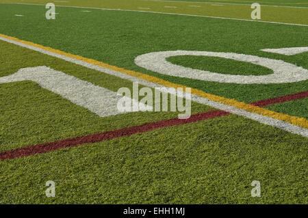 Ten Yard Line Football Field - Stock Photo