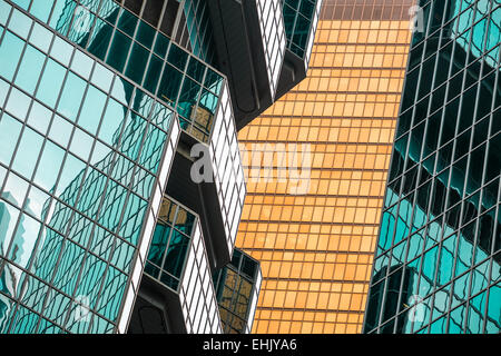 Architectural detail of Lippo Centre and adjacent building in Hong Kong. - Stock Photo