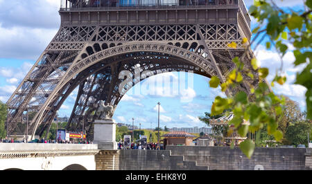 lower part of the Eiffel tower in Paris, France. Seen from the Trocadero Square - Stock Photo