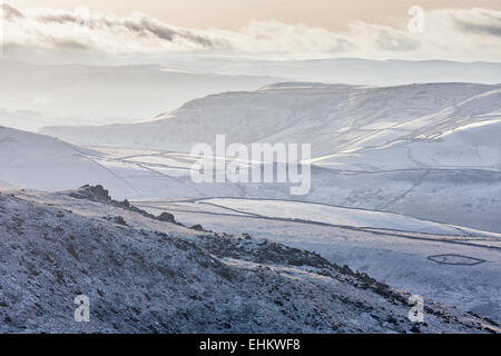 Winter in the Pennines - the view from Kinder Scout. - Stock Photo