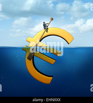 Euro currency guidance financial concept as a european money icon floating in the water with a businessman using - Stock Photo