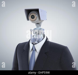 Automated surveillance camera. Clipping path included - Stock Photo
